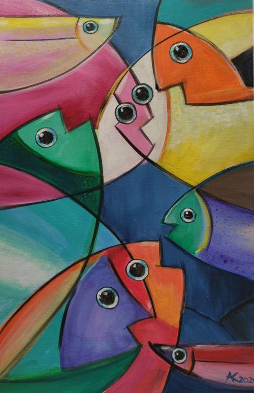 Acryl Bild Fisch Schwarm